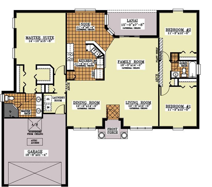 Charisma florida model floor plans 3 bedroom 2 bath 2 for 4 bedroom 2 bath 2 car garage house plans